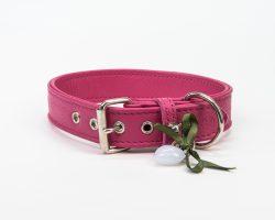 Lederhalsband Pink