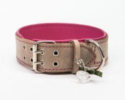 Lederhalsband Grau / Pink