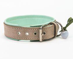 Lederhalsband Grau / Mintgrün