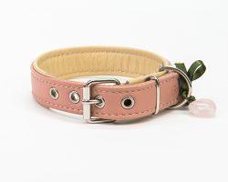 Lederhalsband Rosé / Beige